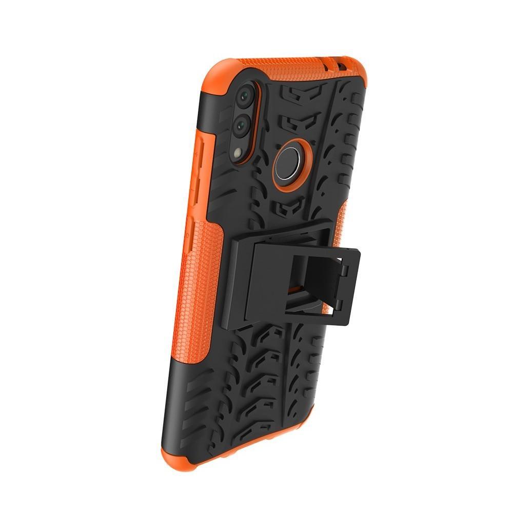 Двухкомпонентный Противоскользящий Гибридный Противоударный Чехол для Huawei Honor 8C с Подставкой Оранжевый