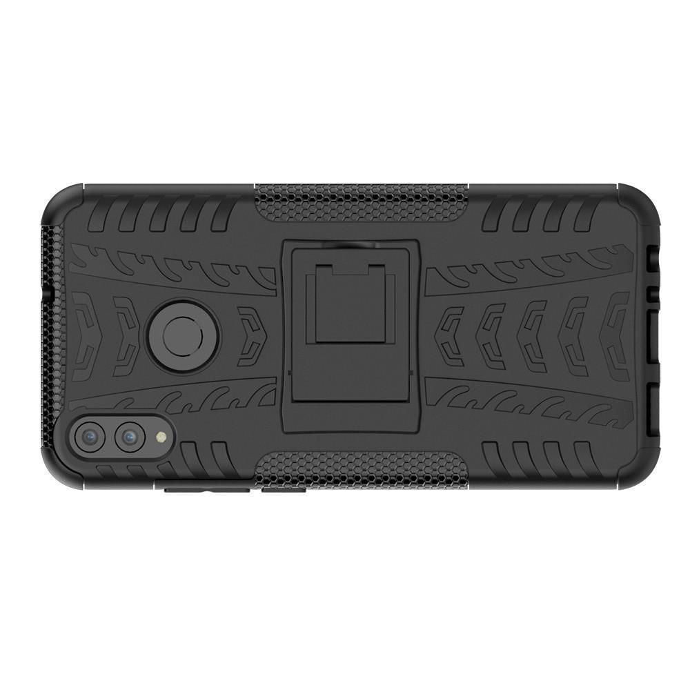 Двухкомпонентный Противоскользящий Гибридный Противоударный Чехол для Huawei Honor 8X с Подставкой Черный