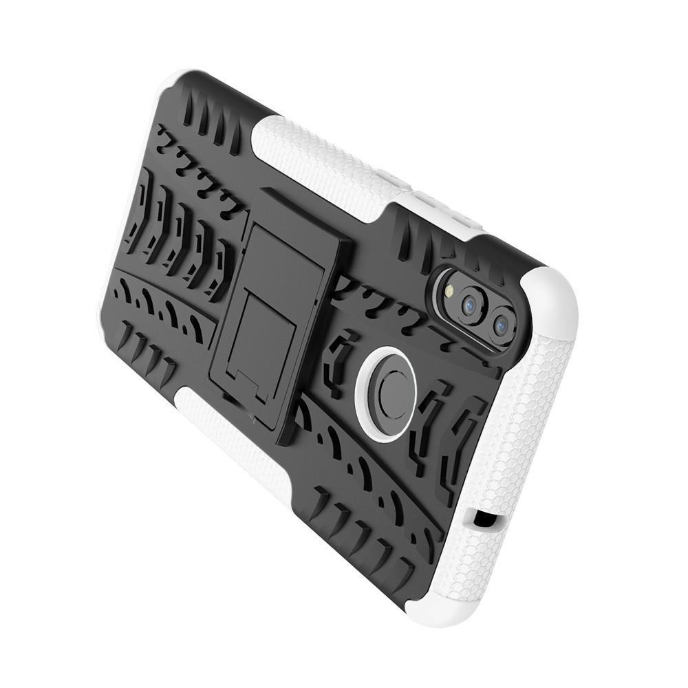 Двухкомпонентный Противоскользящий Гибридный Противоударный Чехол для Huawei Honor 8X с Подставкой Белый