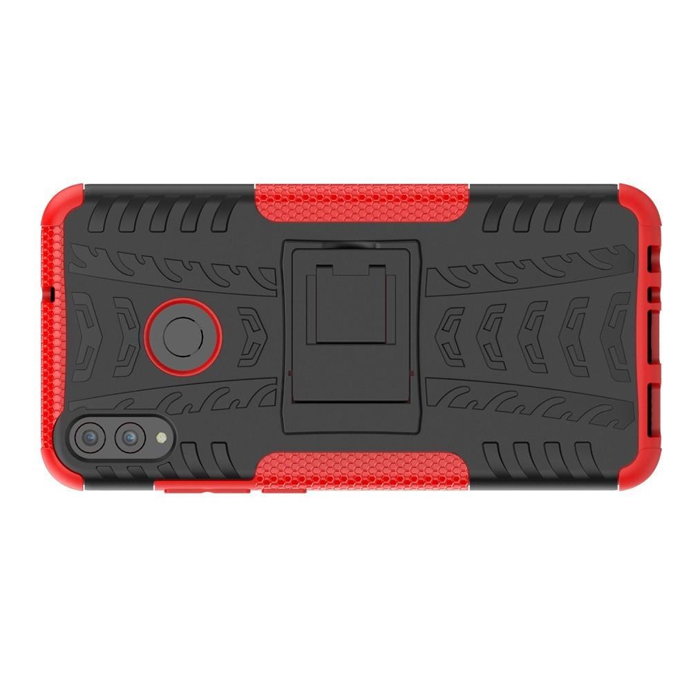 Двухкомпонентный Противоскользящий Гибридный Противоударный Чехол для Huawei Honor 8X с Подставкой Красный