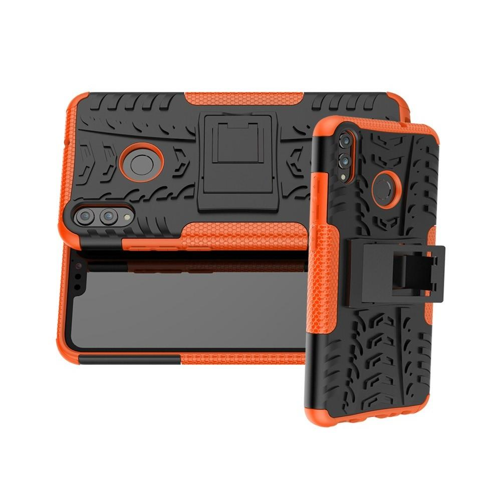 Двухкомпонентный Противоскользящий Гибридный Противоударный Чехол для Huawei Honor 8X с Подставкой Оранжевый