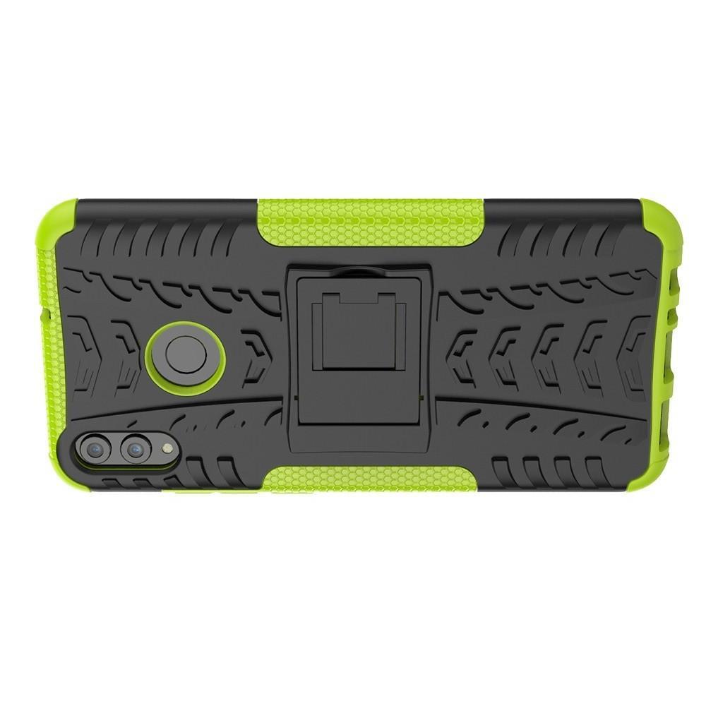Двухкомпонентный Противоскользящий Гибридный Противоударный Чехол для Huawei Honor 8X с Подставкой Зеленый