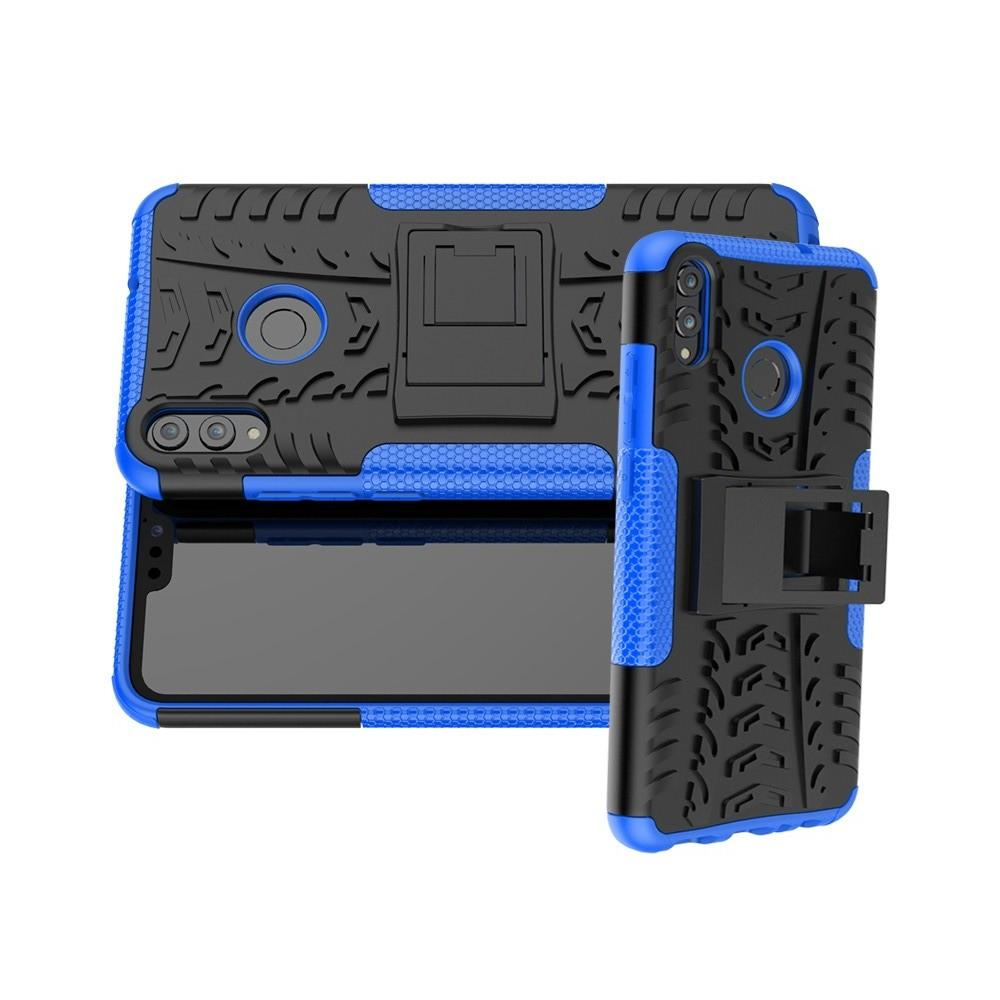 Двухкомпонентный Противоскользящий Гибридный Противоударный Чехол для Huawei Honor 8X с Подставкой Синий