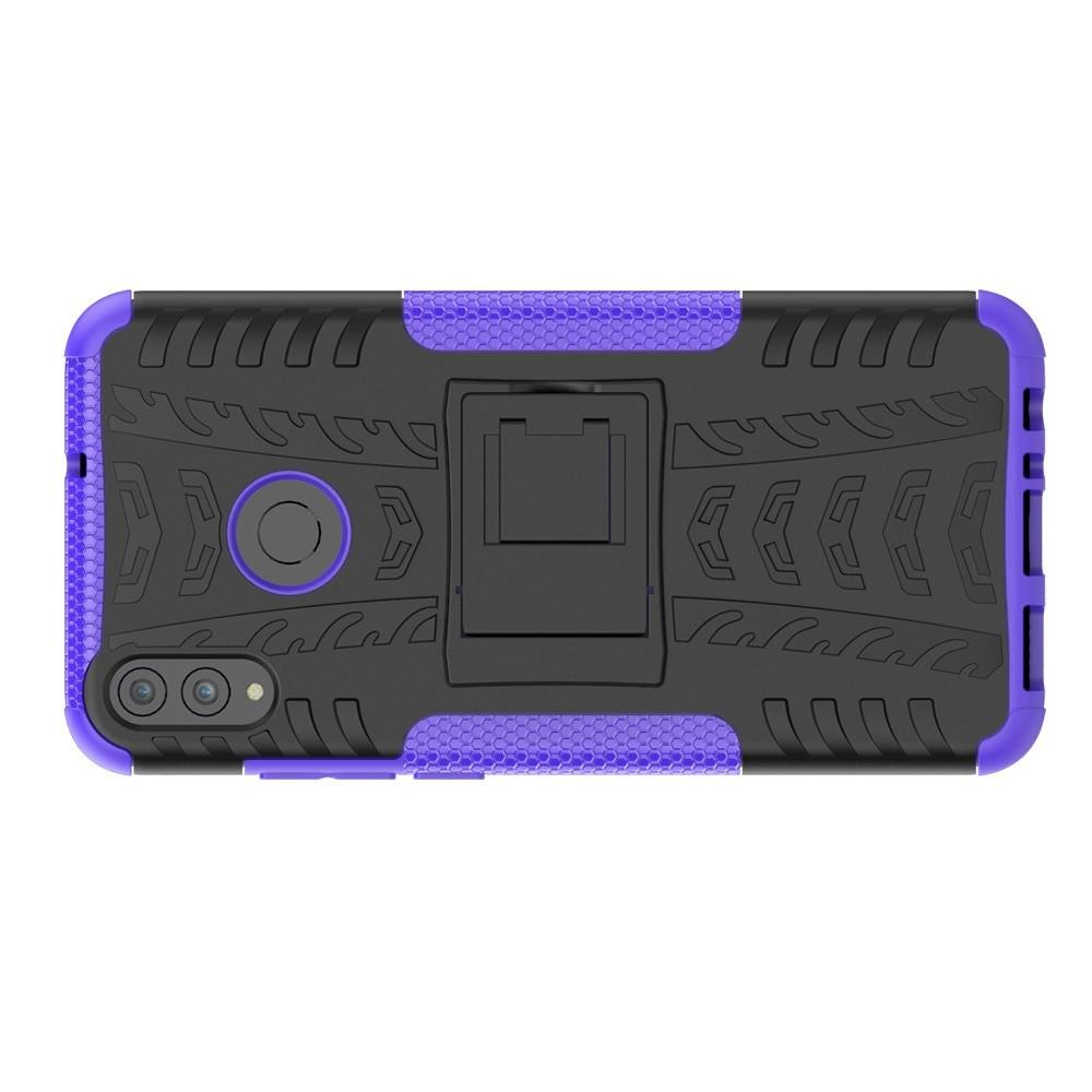 Двухкомпонентный Противоскользящий Гибридный Противоударный Чехол для Huawei Honor 8X с Подставкой Фиолетовый
