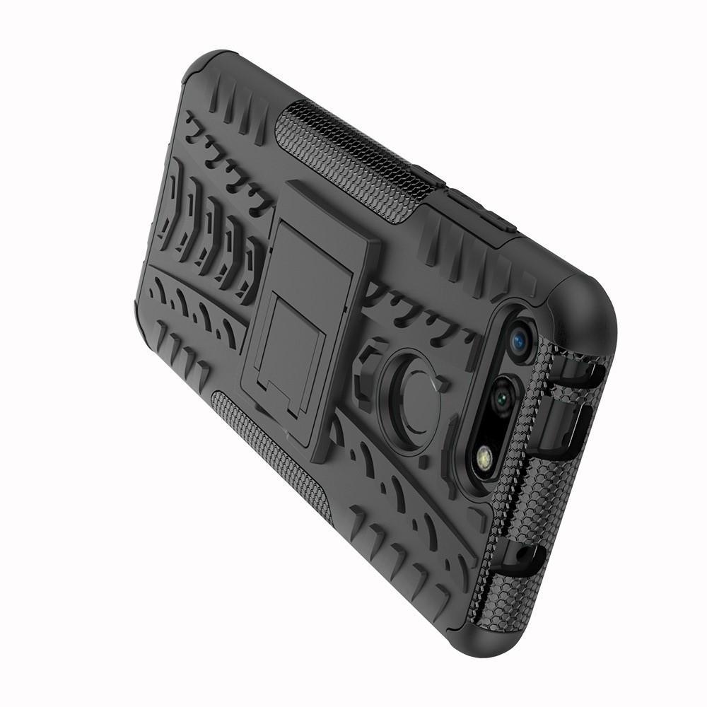 Двухкомпонентный Противоскользящий Гибридный Противоударный Чехол для Huawei Honor View 20 (V20) с Подставкой Черный