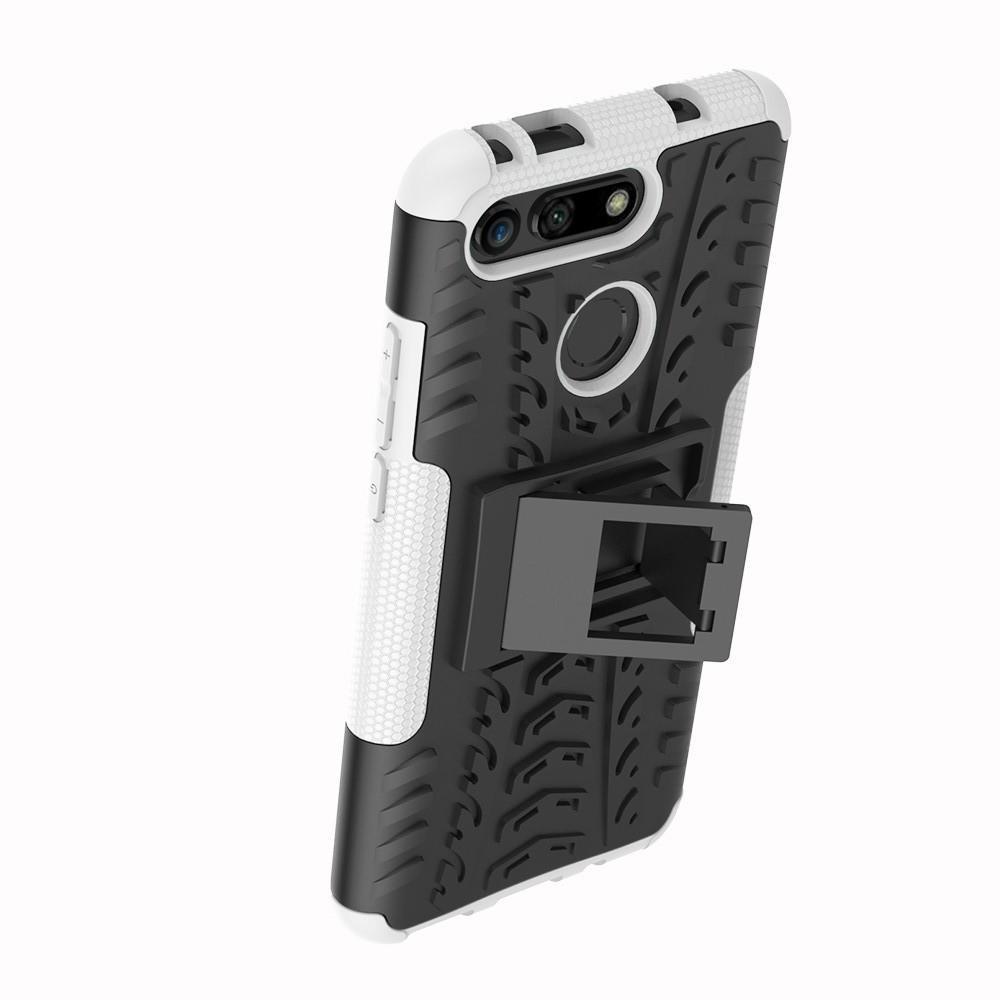 Двухкомпонентный Противоскользящий Гибридный Противоударный Чехол для Huawei Honor View 20 (V20) с Подставкой Белый