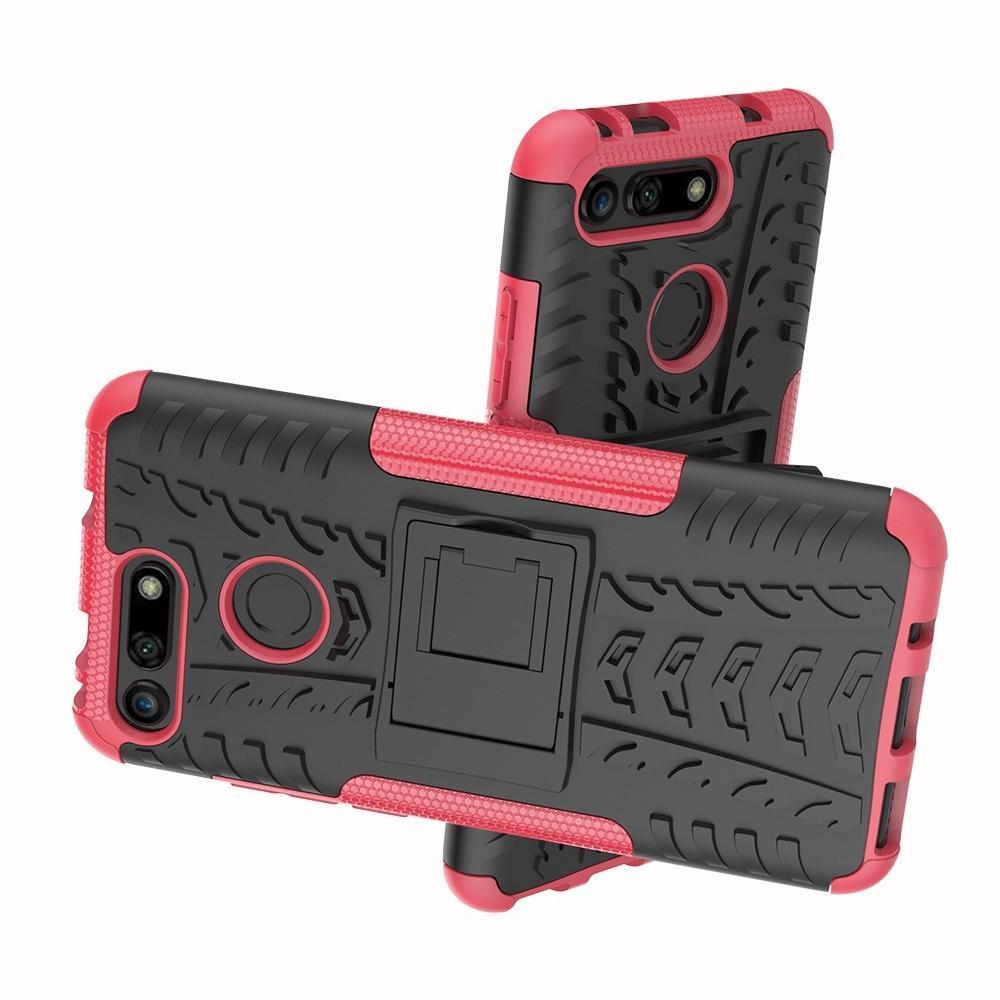 Двухкомпонентный Противоскользящий Гибридный Противоударный Чехол для Huawei Honor View 20 (V20) с Подставкой Розовый