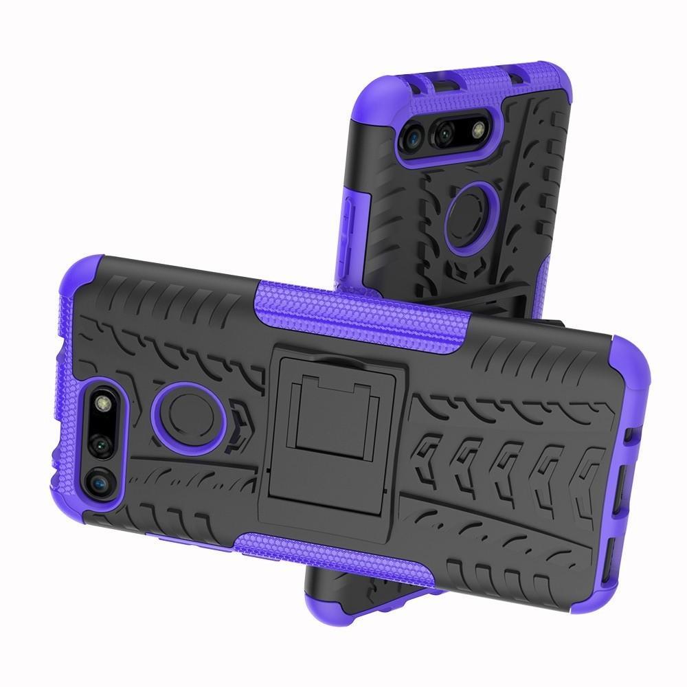 Двухкомпонентный Противоскользящий Гибридный Противоударный Чехол для Huawei Honor View 20 (V20) с Подставкой Фиолетовый