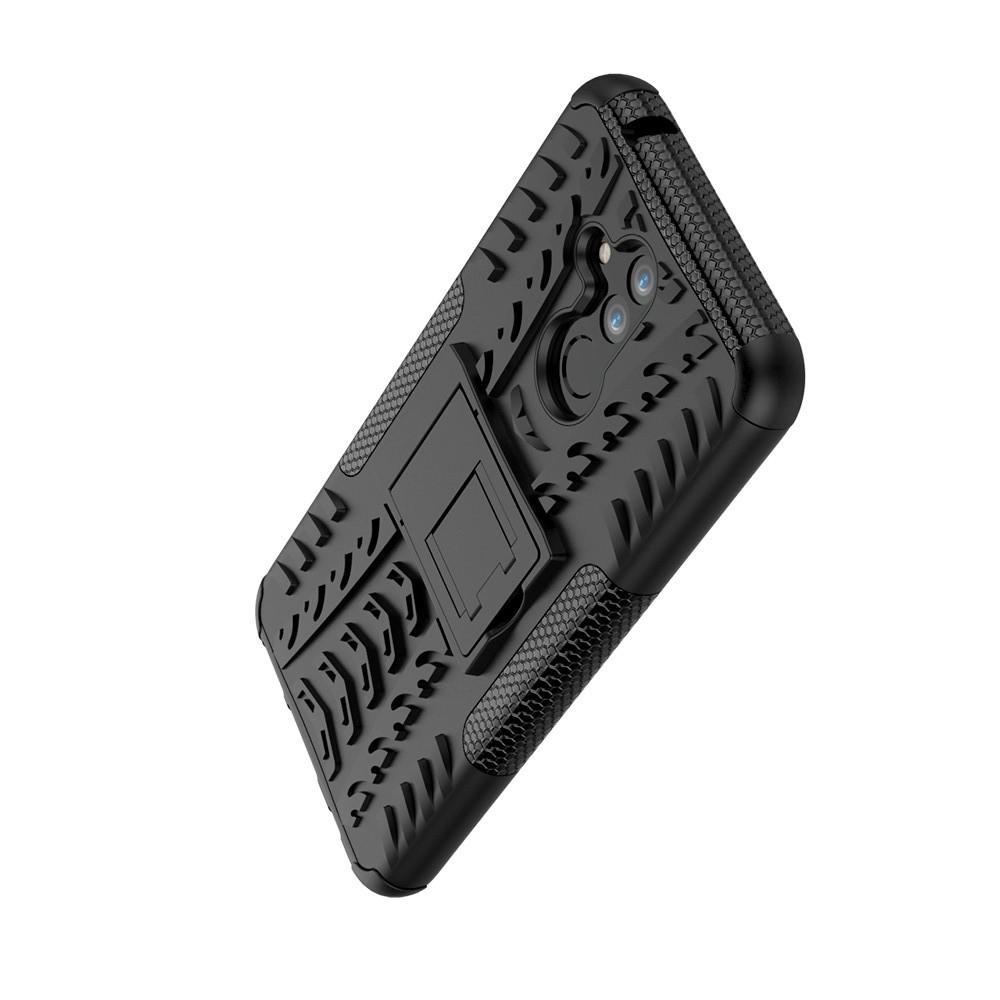 Двухкомпонентный Противоскользящий Гибридный Противоударный Чехол для Huawei Mate 20 Lite с Подставкой Черный