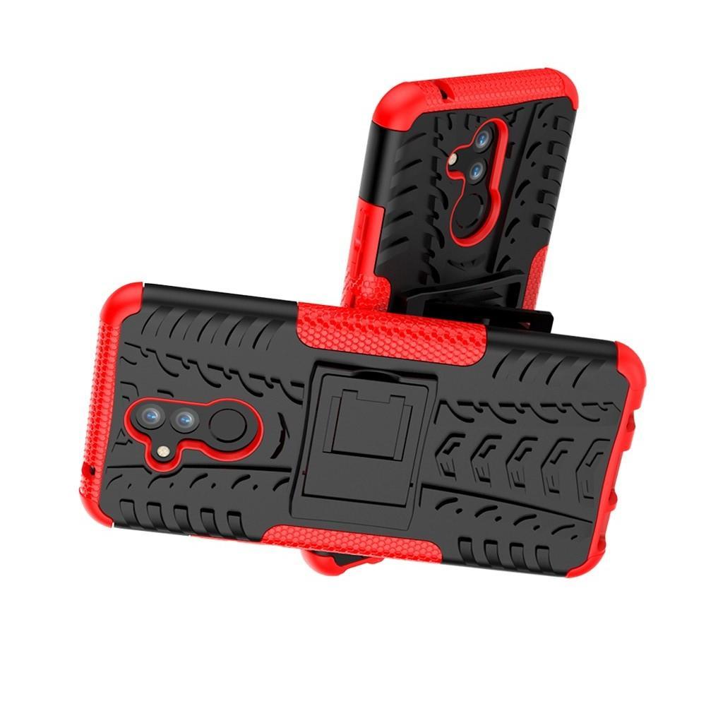 Двухкомпонентный Противоскользящий Гибридный Противоударный Чехол для Huawei Mate 20 Lite с Подставкой Красный