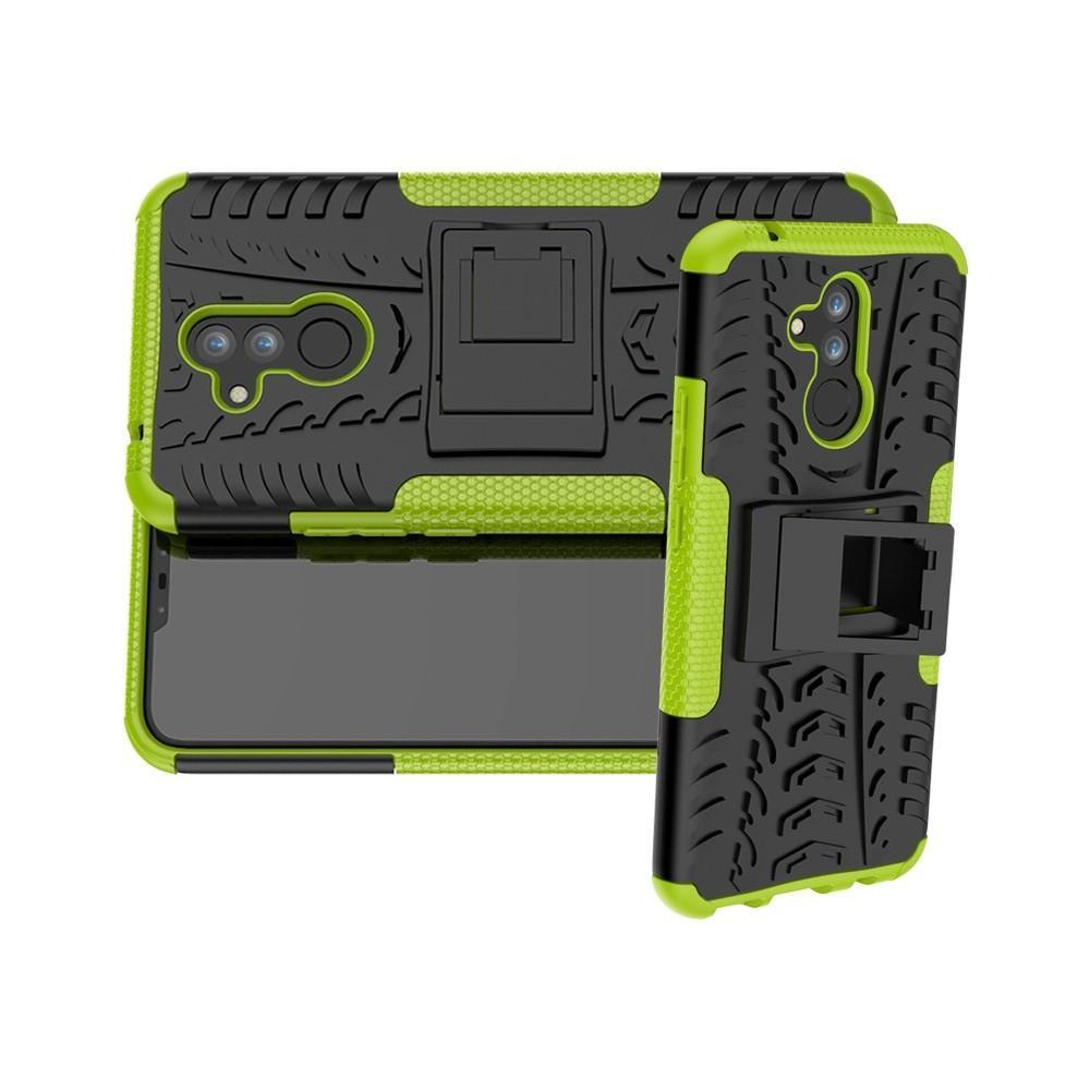Двухкомпонентный Противоскользящий Гибридный Противоударный Чехол для Huawei Mate 20 Lite с Подставкой Зеленый