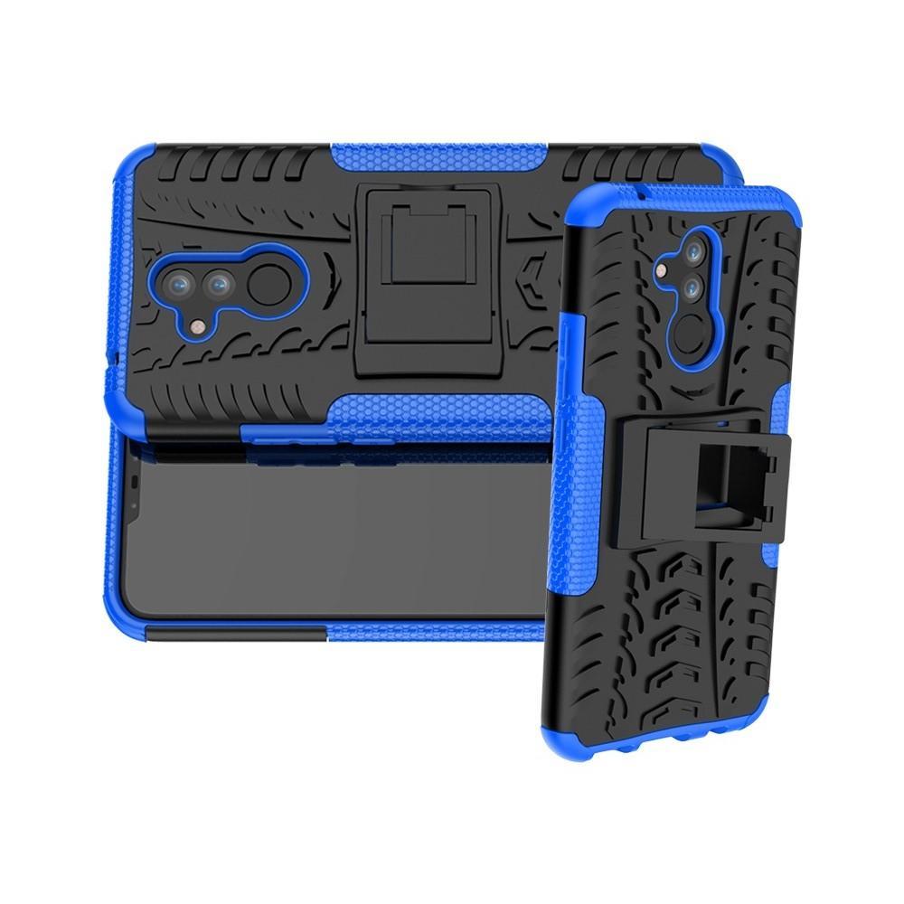 Двухкомпонентный Противоскользящий Гибридный Противоударный Чехол для Huawei Mate 20 Lite с Подставкой Синий