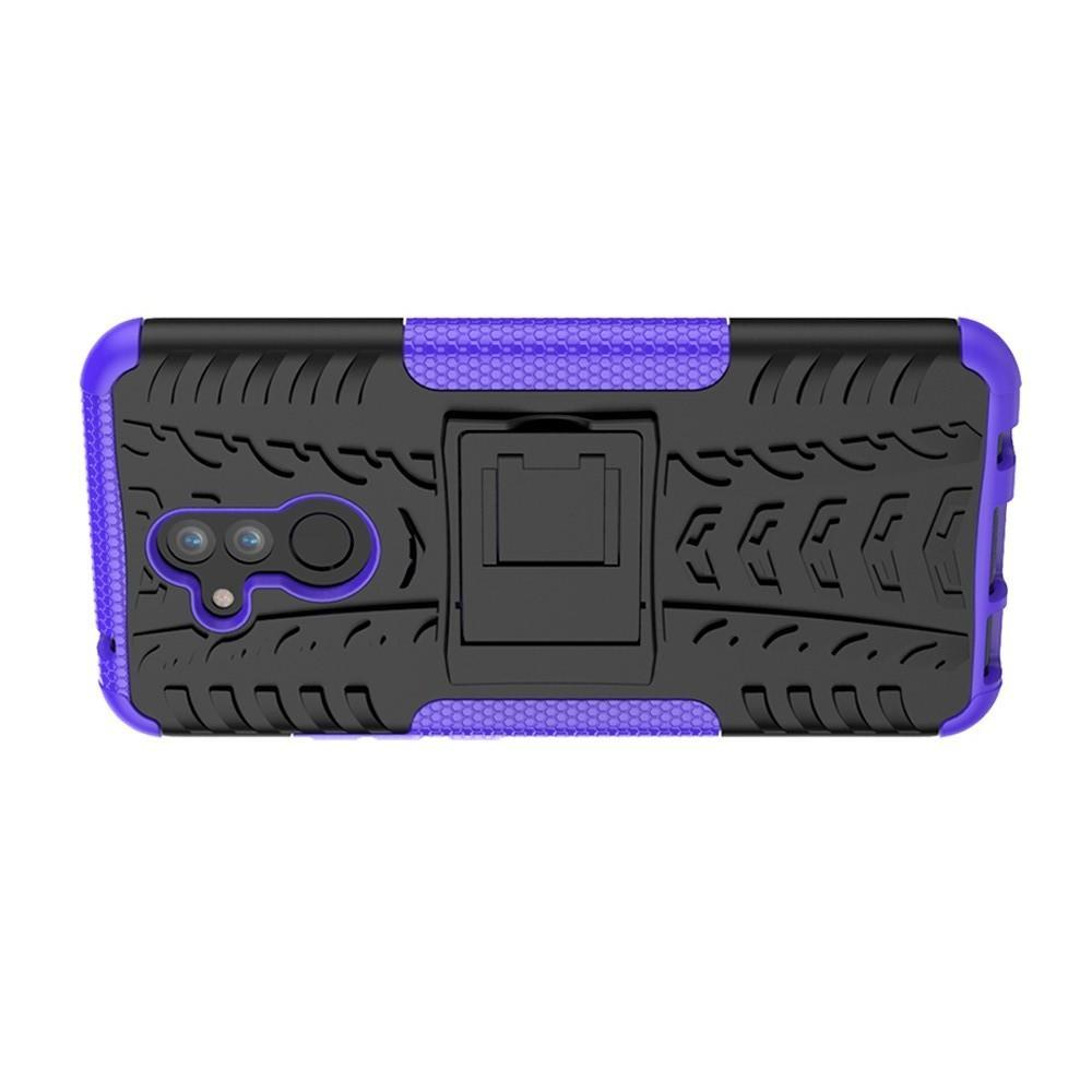 Двухкомпонентный Противоскользящий Гибридный Противоударный Чехол для Huawei Mate 20 Lite с Подставкой Фиолетовый