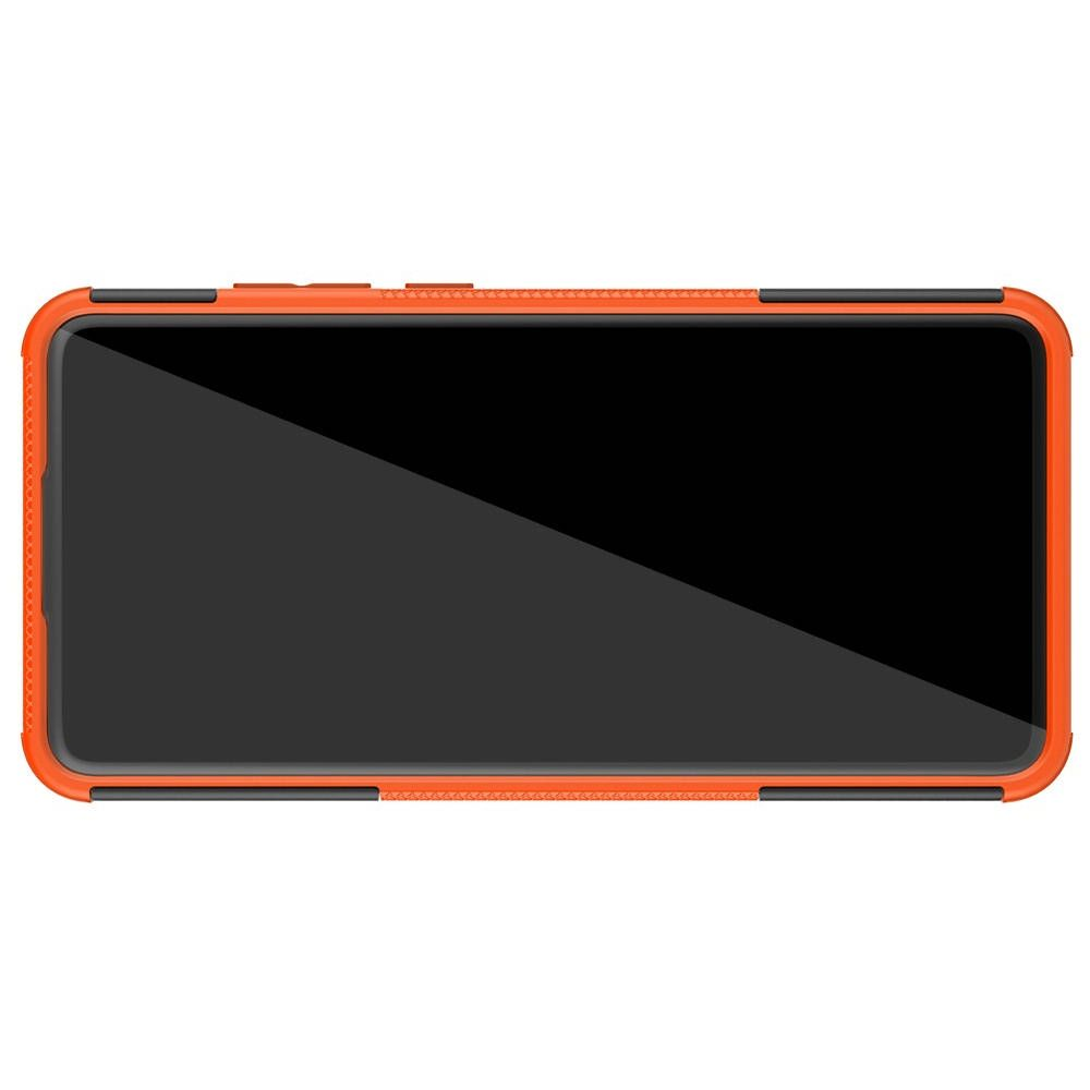 Двухкомпонентный Противоскользящий Гибридный Противоударный Чехол для Huawei Mate 30 с Подставкой Оранжевый / Черный