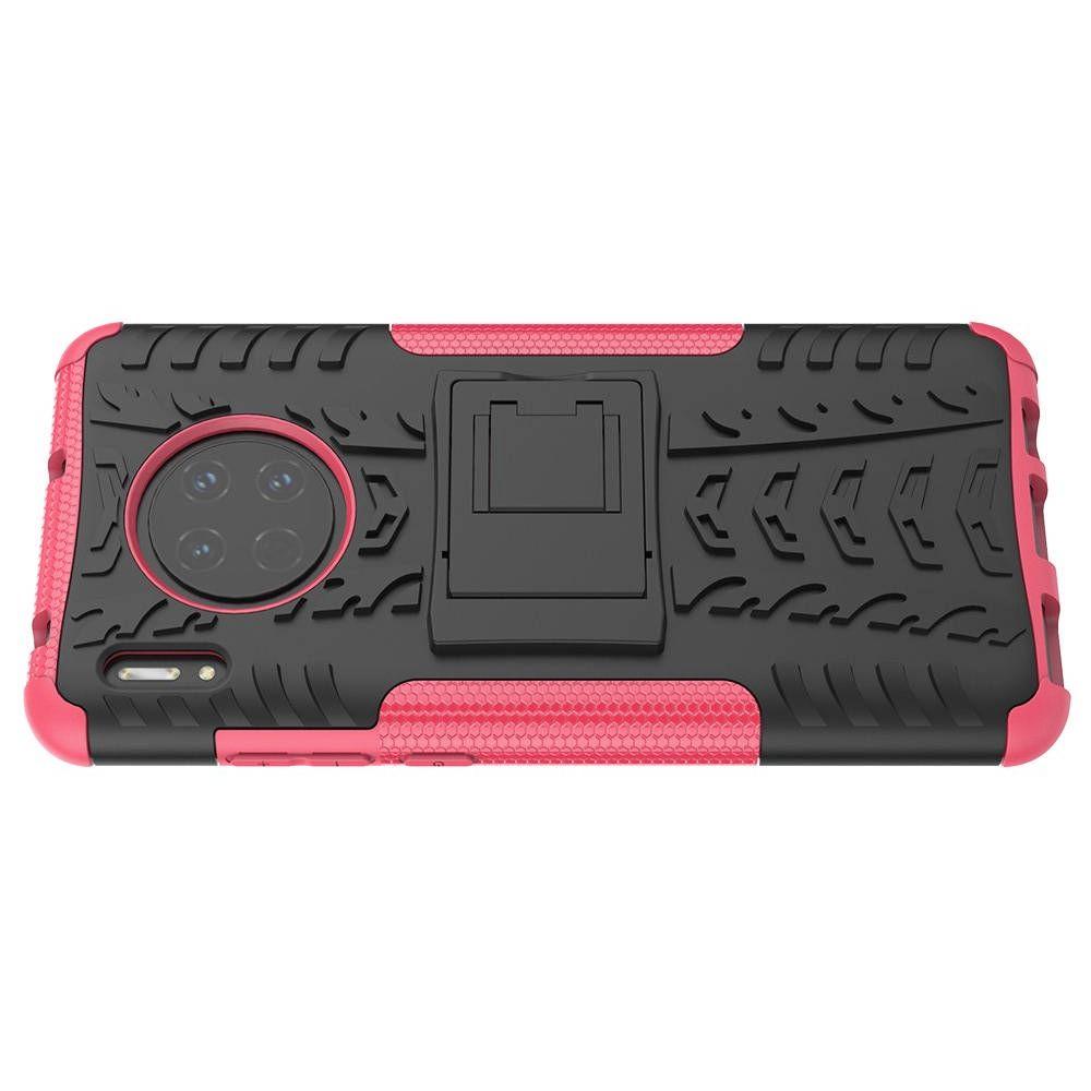 Двухкомпонентный Противоскользящий Гибридный Противоударный Чехол для Huawei Mate 30 с Подставкой Розовый / Черный