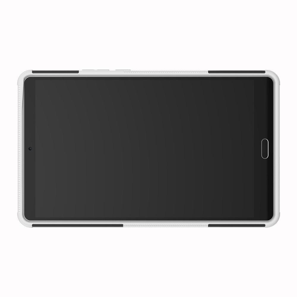 Двухкомпонентный Противоскользящий Гибридный Противоударный Чехол для Huawei MediaPad M5 8.4 с Подставкой Белый