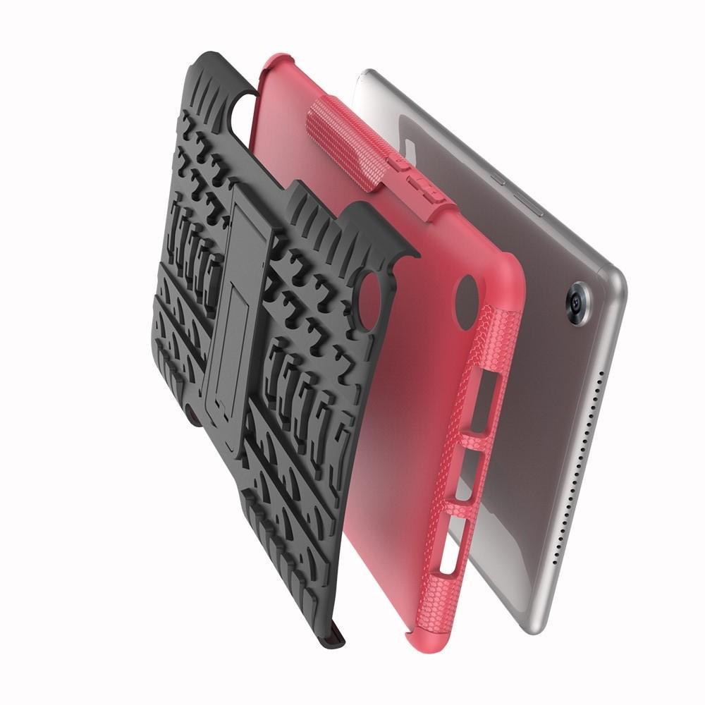 Двухкомпонентный Противоскользящий Гибридный Противоударный Чехол для Huawei MediaPad M5 8.4 с Подставкой Розовый