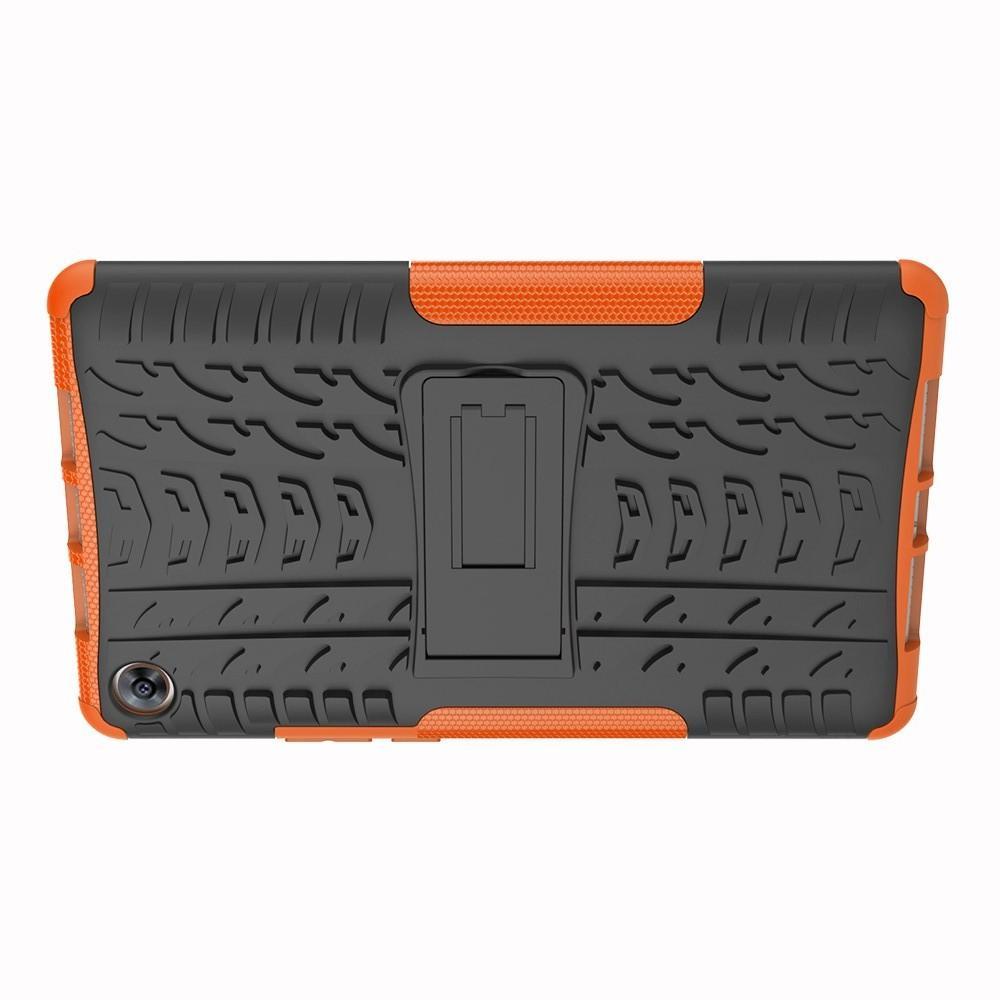 Двухкомпонентный Противоскользящий Гибридный Противоударный Чехол для Huawei MediaPad M5 8.4 с Подставкой Оранжевый