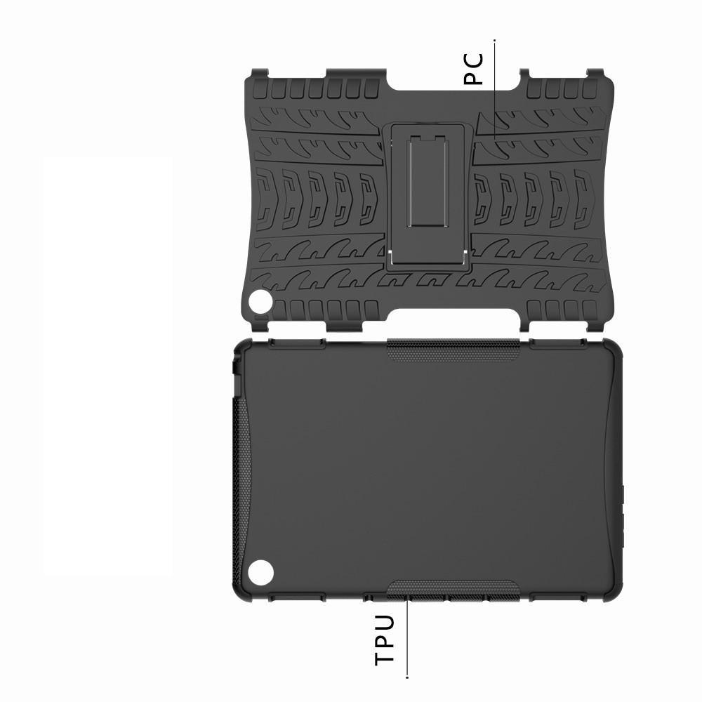 Двухкомпонентный Противоскользящий Гибридный Противоударный Чехол для Huawei Mediapad M5 Lite 10 с Подставкой Черный