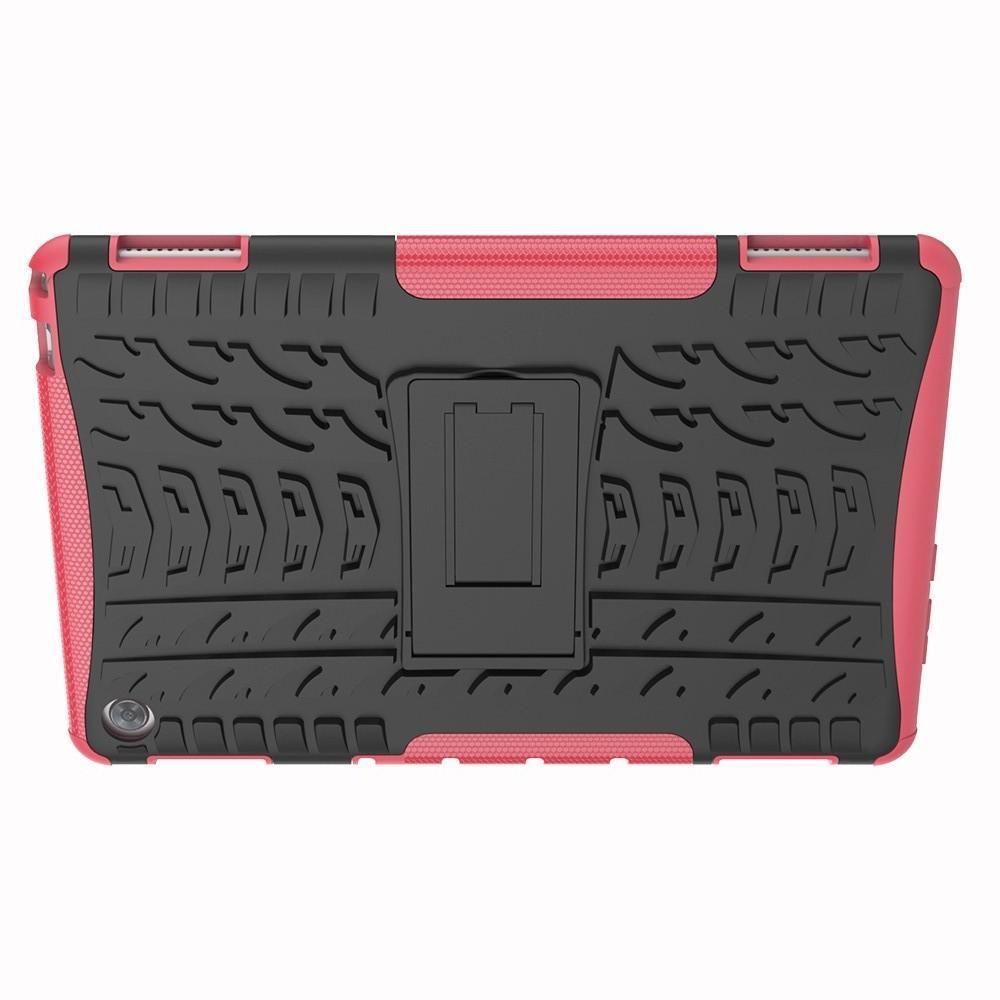 Двухкомпонентный Противоскользящий Гибридный Противоударный Чехол для Huawei Mediapad M5 Lite 10 с Подставкой Розовый