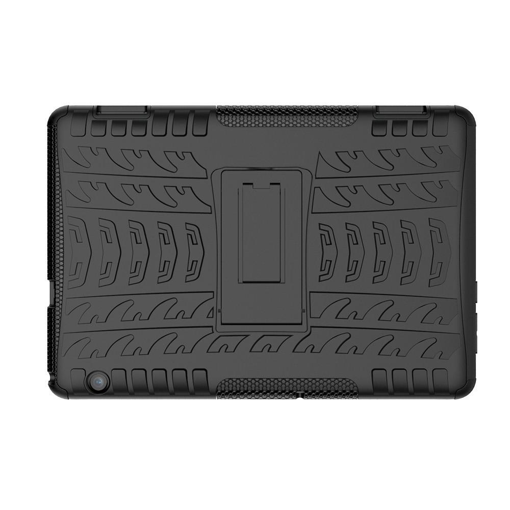 Двухкомпонентный Противоскользящий Гибридный Противоударный Чехол для Huawei Mediapad T5 10 с Подставкой Черный