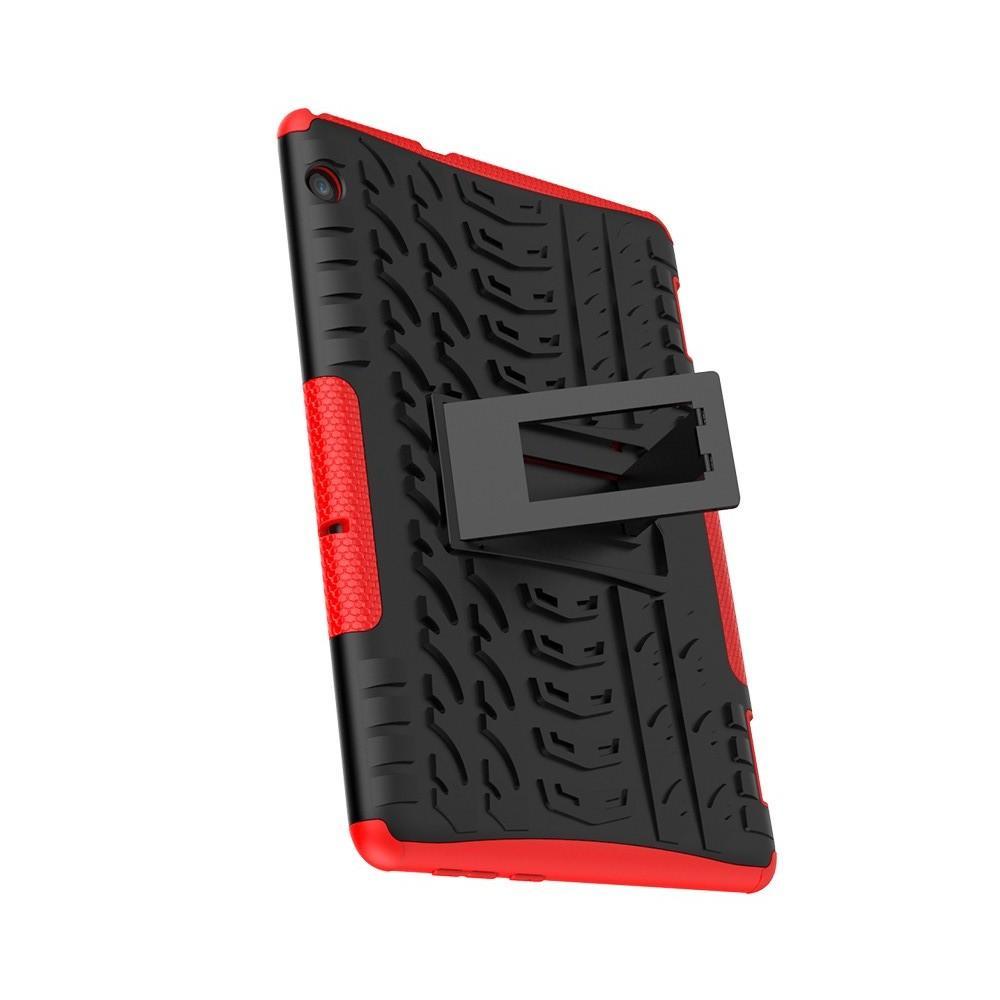 Двухкомпонентный Противоскользящий Гибридный Противоударный Чехол для Huawei Mediapad T5 10 с Подставкой Красный