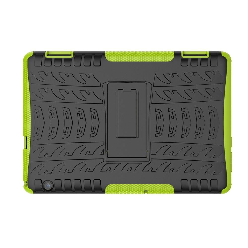 Двухкомпонентный Противоскользящий Гибридный Противоударный Чехол для Huawei Mediapad T5 10 с Подставкой Зеленый