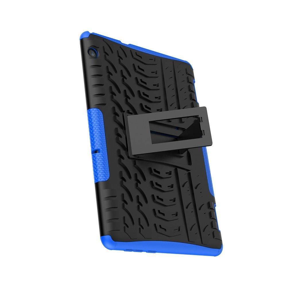Двухкомпонентный Противоскользящий Гибридный Противоударный Чехол для Huawei Mediapad T5 10 с Подставкой Синий