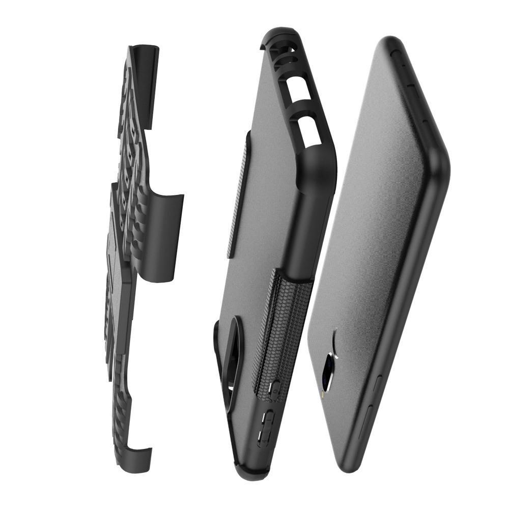 Двухкомпонентный Противоскользящий Гибридный Противоударный Чехол для Huawei Nova 2i / Mate 10 Lite с Подставкой Черный