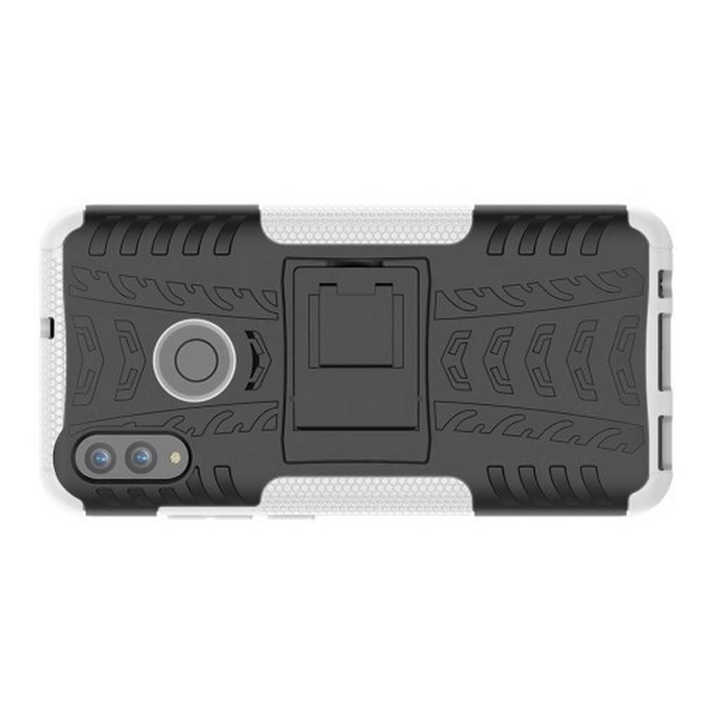 Двухкомпонентный Противоскользящий Гибридный Противоударный Чехол для Huawei P Smart 2019 с Подставкой Белый