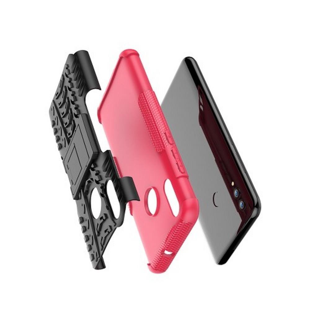 Двухкомпонентный Противоскользящий Гибридный Противоударный Чехол для Huawei P Smart 2019 с Подставкой Розовый