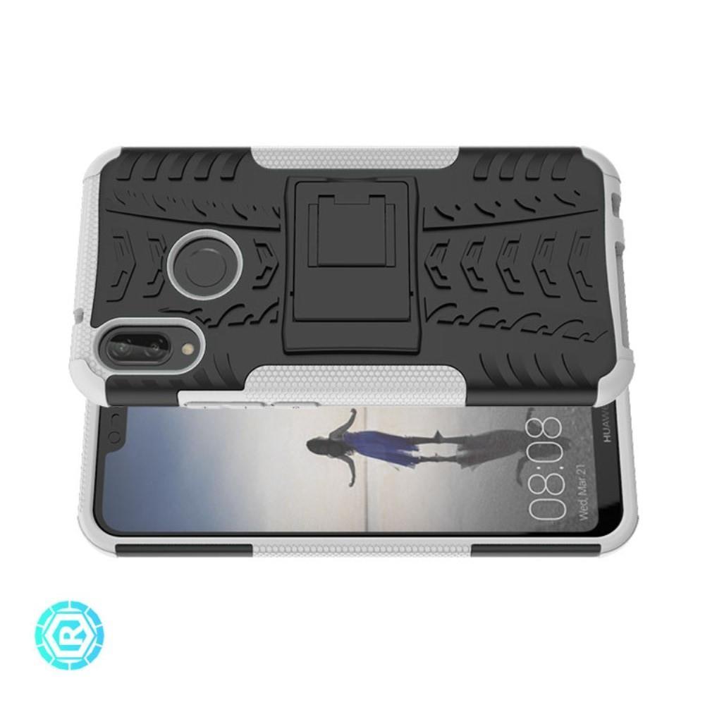 Двухкомпонентный Противоскользящий Гибридный Противоударный Чехол для Huawei P20 lite с Подставкой Белый