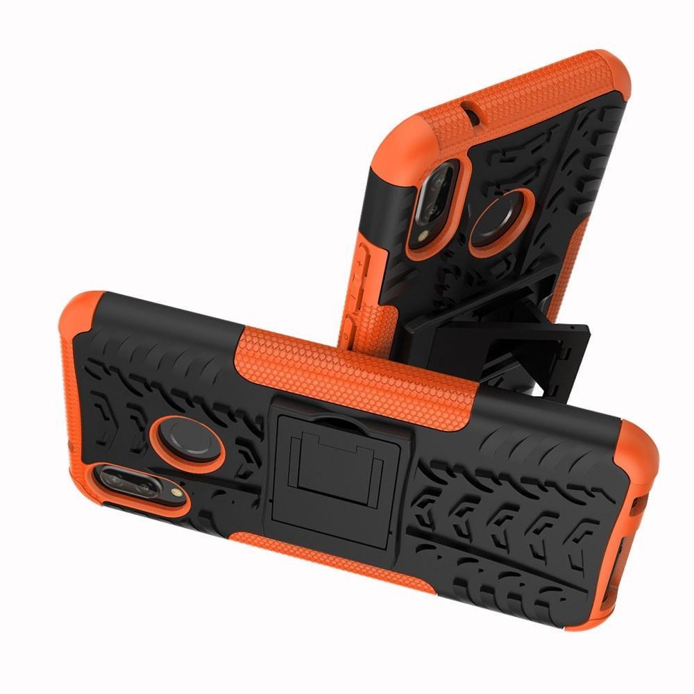 Двухкомпонентный Противоскользящий Гибридный Противоударный Чехол для Huawei P20 lite с Подставкой Оранжевый