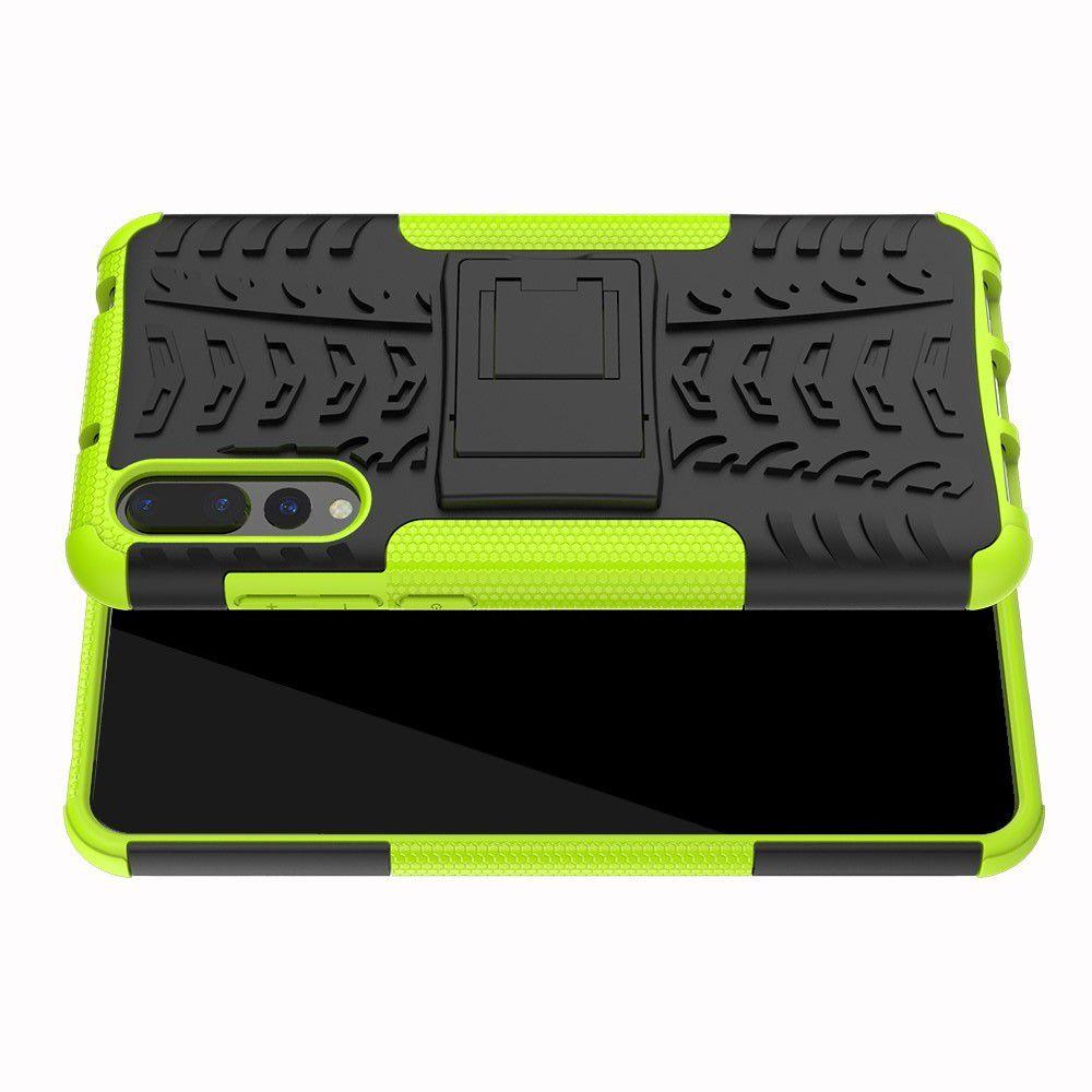 Двухкомпонентный Противоскользящий Гибридный Противоударный Чехол для Huawei P20 Pro с Подставкой Зеленый