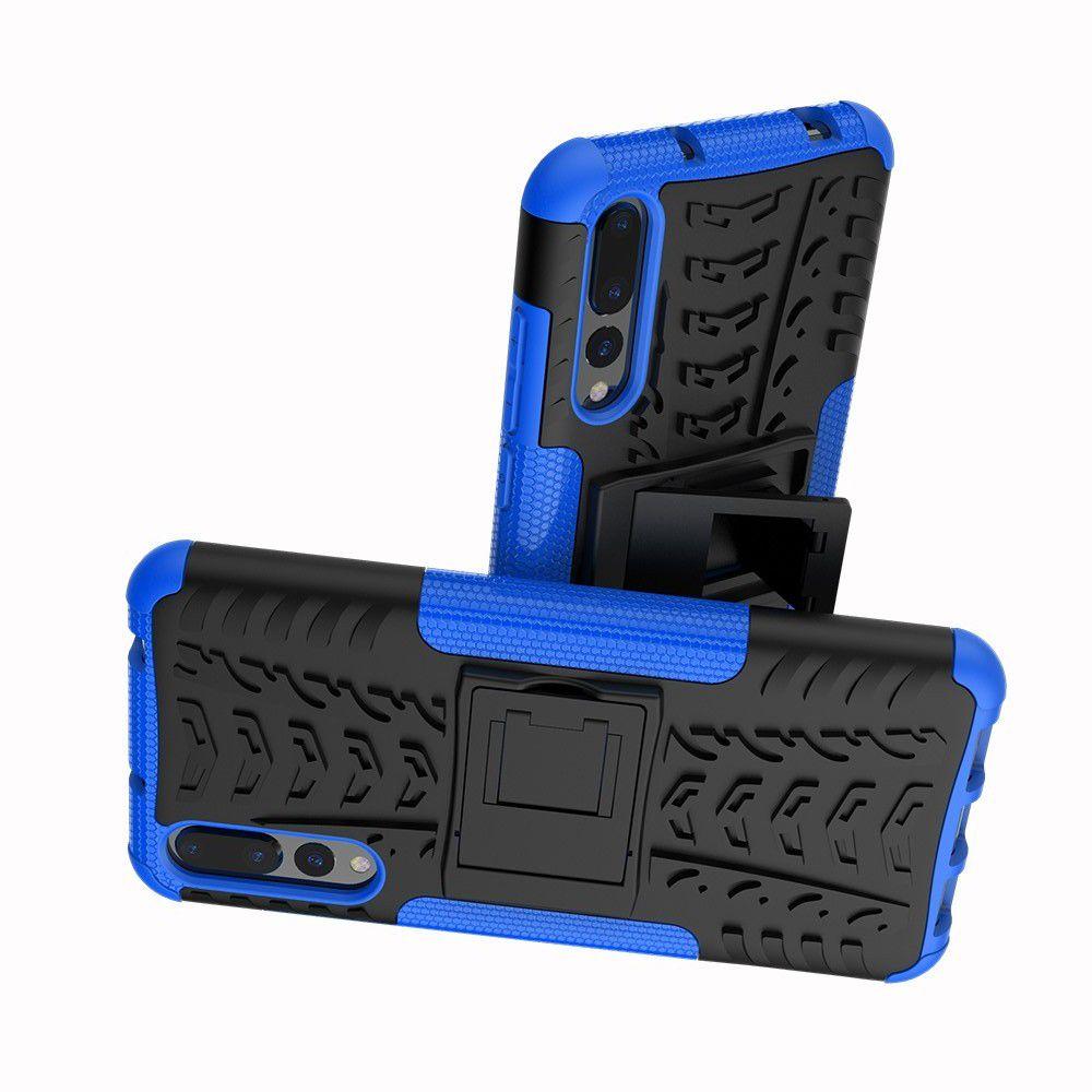 Двухкомпонентный Противоскользящий Гибридный Противоударный Чехол для Huawei P20 Pro с Подставкой Синий