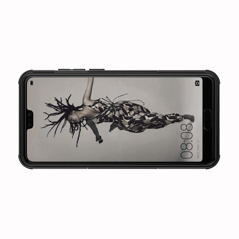 Двухкомпонентный Противоскользящий Гибридный Противоударный Чехол для Huawei P20 с Подставкой Черный