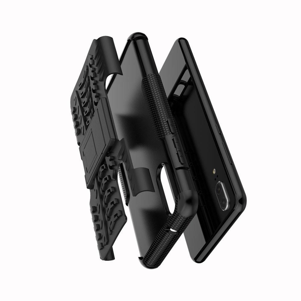 Двухкомпонентный Противоскользящий Гибридный Противоударный Чехол для Huawei P20 с Подставкой Зеленый