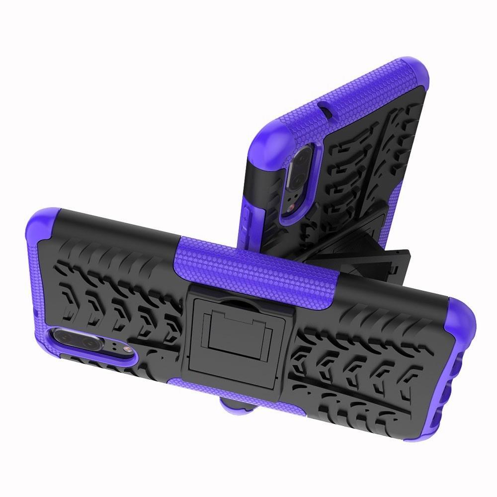 Двухкомпонентный Противоскользящий Гибридный Противоударный Чехол для Huawei P20 с Подставкой Фиолетовый