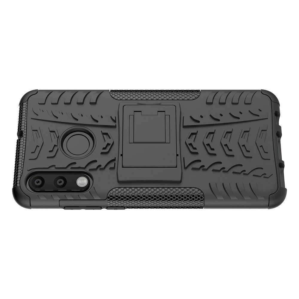 Двухкомпонентный Противоскользящий Гибридный Противоударный Чехол для Huawei P30 Lite с Подставкой Черный