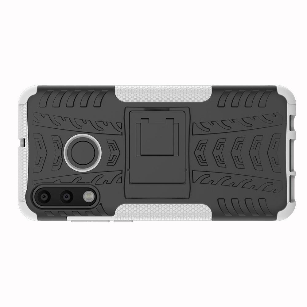 Двухкомпонентный Противоскользящий Гибридный Противоударный Чехол для Huawei P30 Lite с Подставкой Белый