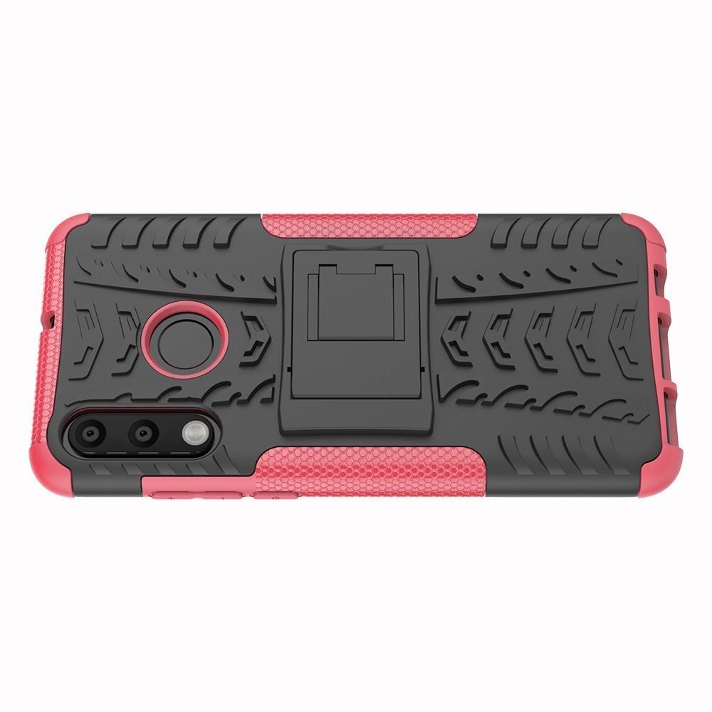 Двухкомпонентный Противоскользящий Гибридный Противоударный Чехол для Huawei P30 Lite с Подставкой Розовый
