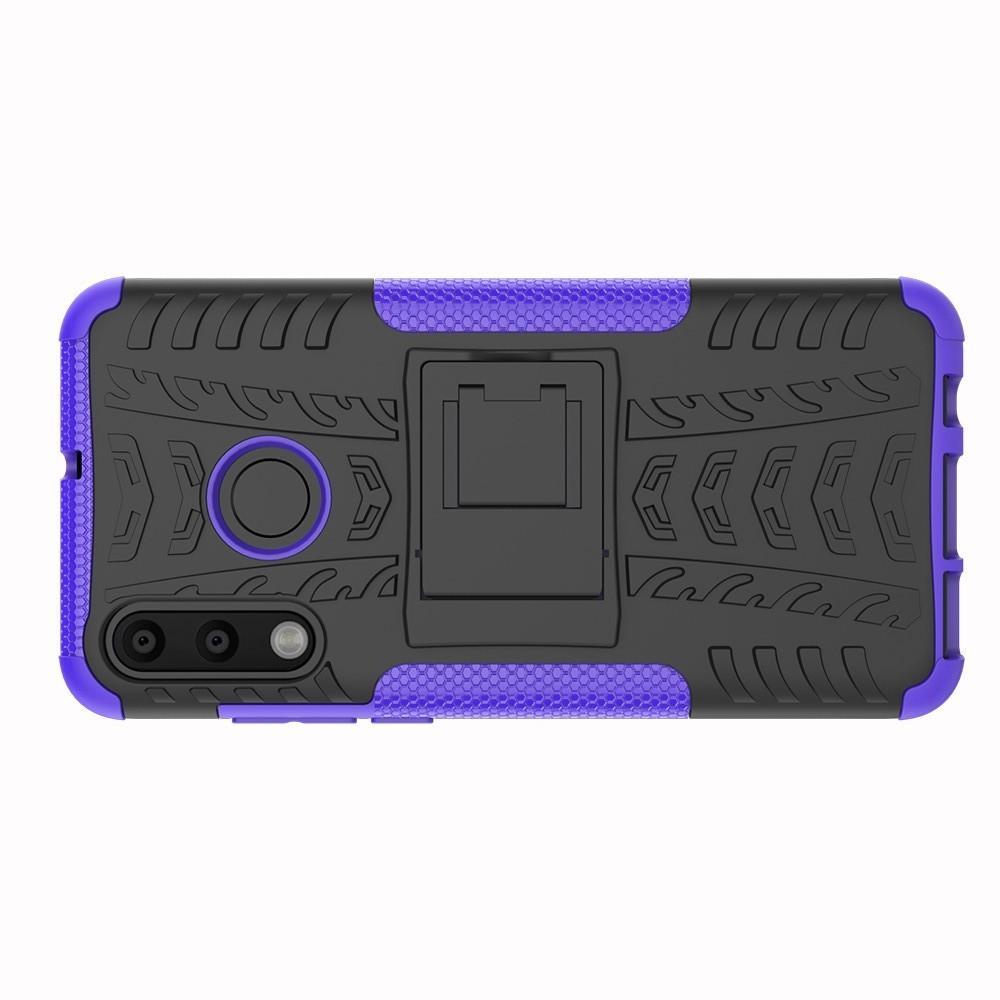 Двухкомпонентный Противоскользящий Гибридный Противоударный Чехол для Huawei P30 Lite с Подставкой Фиолетовый