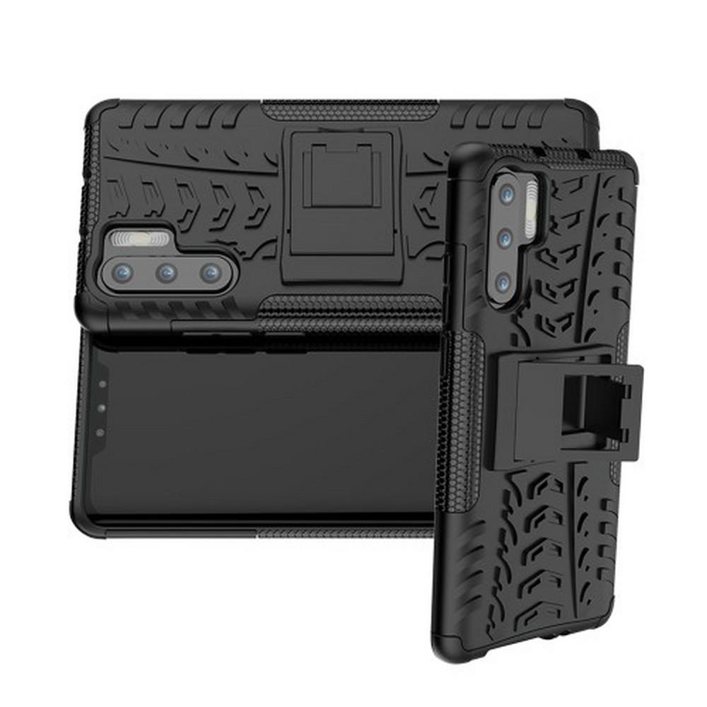 Двухкомпонентный Противоскользящий Гибридный Противоударный Чехол для Huawei P30 Pro с Подставкой Черный