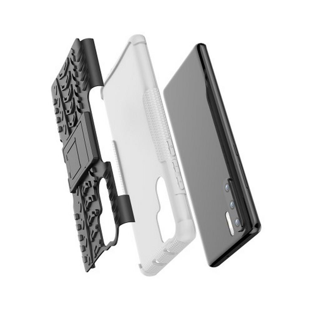 Двухкомпонентный Противоскользящий Гибридный Противоударный Чехол для Huawei P30 Pro с Подставкой Белый