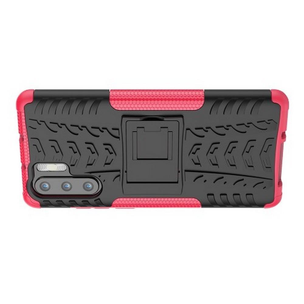 Двухкомпонентный Противоскользящий Гибридный Противоударный Чехол для Huawei P30 Pro с Подставкой Розовый