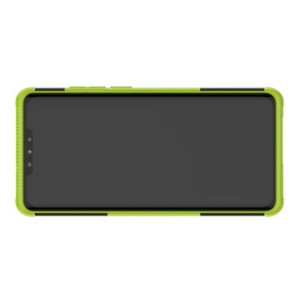 Двухкомпонентный Противоскользящий Гибридный Противоударный Чехол для Huawei P30 Pro с Подставкой Зеленый