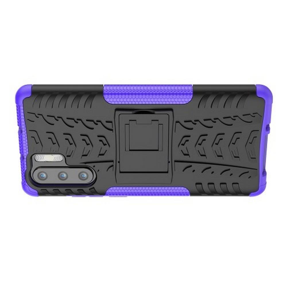 Двухкомпонентный Противоскользящий Гибридный Противоударный Чехол для Huawei P30 Pro с Подставкой Фиолетовый