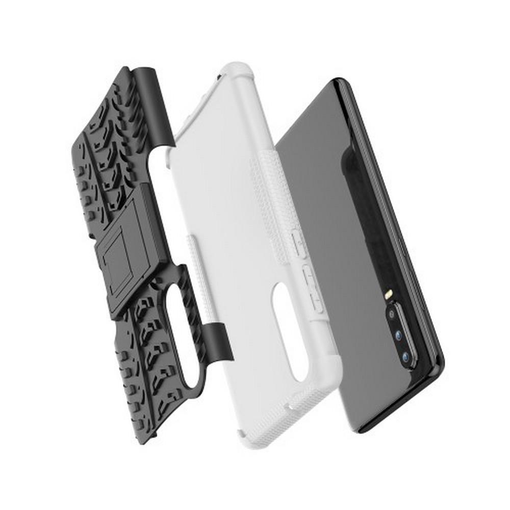 Двухкомпонентный Противоскользящий Гибридный Противоударный Чехол для Huawei P30 с Подставкой Белый