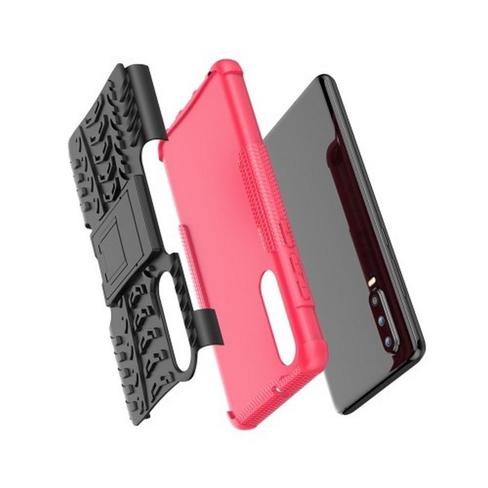 Двухкомпонентный Противоскользящий Гибридный Противоударный Чехол для Huawei P30 с Подставкой Розовый
