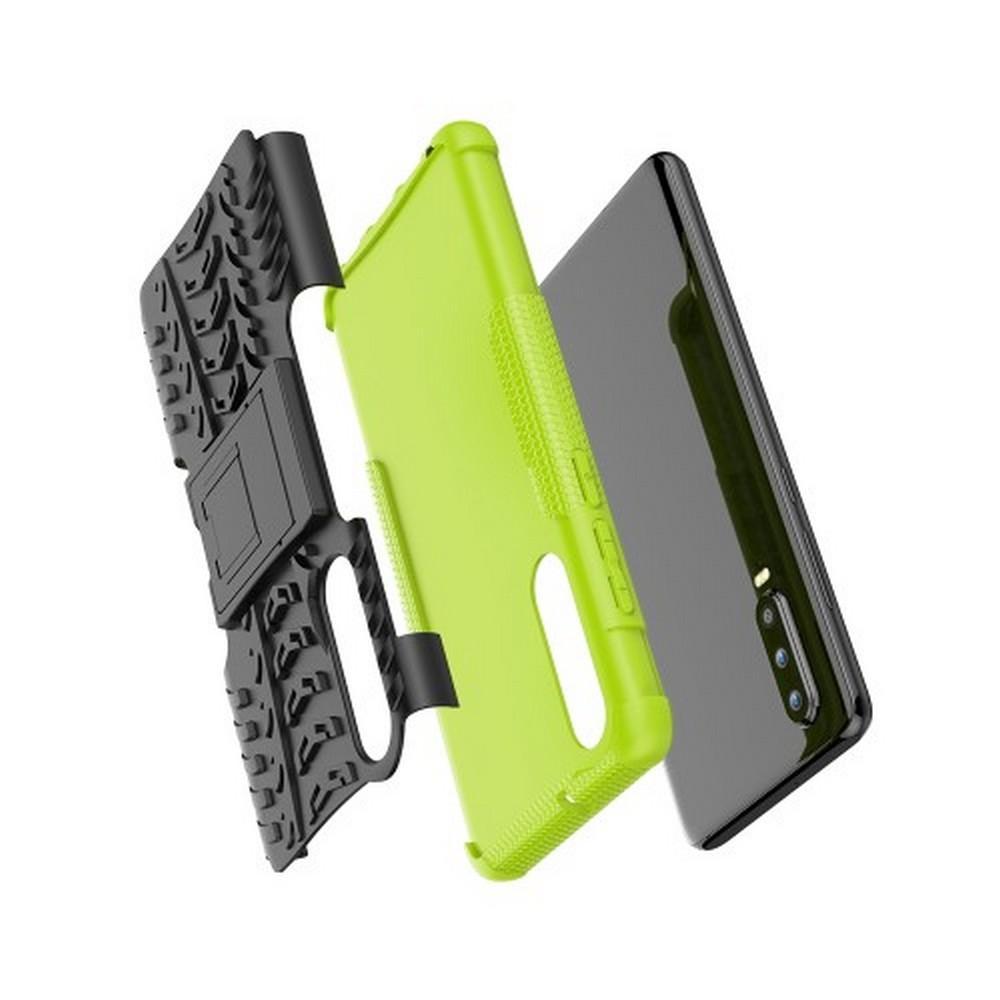 Двухкомпонентный Противоскользящий Гибридный Противоударный Чехол для Huawei P30 с Подставкой Зеленый